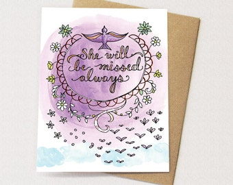 Sympathy Card - she will be missed, Sympathy for female
