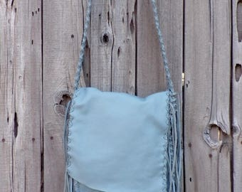 Gray leather handbag , light gray possibles bag , handmade