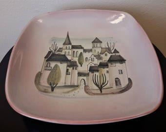 "Mid Century Pottery Bowl Meister Heinrich Dubendorf 570E Switzerland Village Scene Eames Era 12"" X 12"""