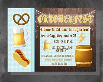 Digital Chalkboard Oktoberfest Beer German Birthday Party Invitation Printable
