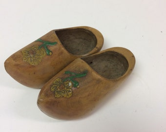 Beautiful Floral Painted Wooden Carved Shoes - Holland