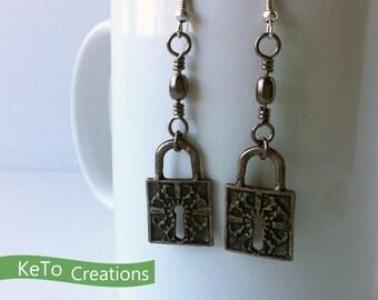 Padlock Earrings, Grunge Style Padlock Earrings, Gothic Looking Earrings