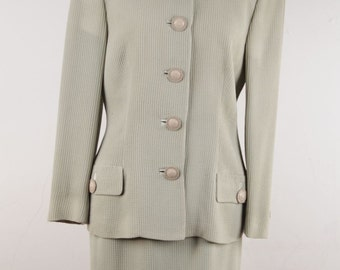 GIANNI VERSACE Vintage Green Honeycomb Fabric SUIT Blazer and Skirt Set 38 it rd