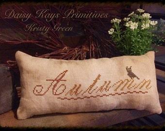 Primitive Autumn Fall Pillow | Pillow Tuck Pin Keep | Primitive Stitchery | Crow | Farmhouse Decor | Cross Stitch Pillow | Primitive Decor
