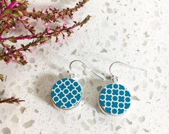 Wooden Earrings, Turquoise Earrings, Drop Earrings, Dangle Earrings, Wood Earrings, Unique Earrings, Blue Geometric Earrings, Photo Earrings