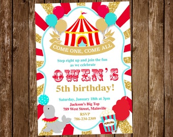 Circus Birthday Invitation, Invite, Carnival, Big Top, Red, Gold - Printable or Printed