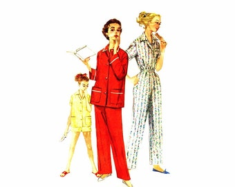 1950s Teen Girls Pajamas Simplicity 1325 Vintage Sewing Pattern Sleepwear Size 12 Bust 30 UNCUT