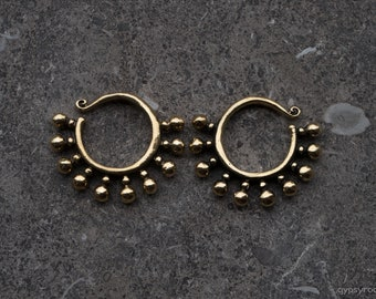 small weights, brass weights, tribal weights, dilated ears, dots, spirals, tribal jewelry