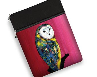 Clara Nilles owl laptop case 13 inch, laptop sleeve 13, macbook pro case, laptop bag women, Surface Book, Dell, Asus, HP, zipper pocket  RTS