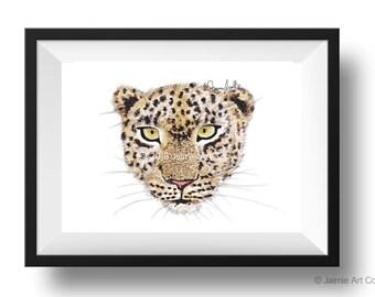 Cheetah Art Print, Animal Wall Art, Watercolor Illustration, Childrens Art, Nursery Wall Art, Kids Wall Art, Wall Decor, Frameable Art