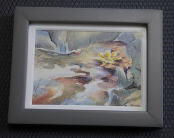 Original miniature watercolor painting yellow flower water abstract