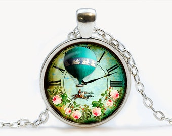 Vintage Clock with Flowers and Balloon pendant. Vintage Clock Necklace. Vintage Clock jewelry. Birthday gift