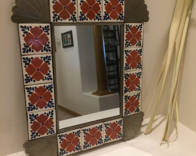 Spanish Colonial Style Punched Tin Mirror with Talavera Tile Border, Antiqued, Handmade