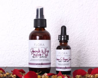 Anti Aging / Dry Skin Set - Chamomile Rose Moisture Mist and Vitamin E Repair Serum, Anti-Aging, Wrinkle-Prevention