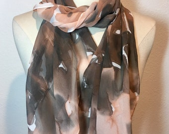 Abstract Flurry, cinnamon latte brown, hand painted silk georgette scarf. Peach, camel, brown ans black brush strokes on oblong acarf