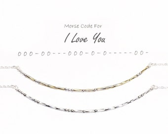 Gift for Girlfriend, Mother's Day Gift, Gift for Wife, Gift for Her, Anniversary Gift, Morse Code Necklace, I Love You Necklace, Secret Gift