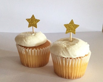 Gold Glitter Star Cupcake Toppers