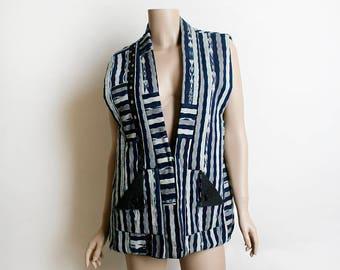 Vintage 1970s Hippie Vest Top - Navy Blue Black and White Striped Patchwork Print Gypsy Tuxedo Style Pocket Vest - Summer of Love - Festival