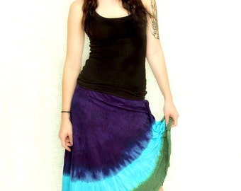 Tie Dye Cotton Skirt in Purple, Green and Turquoise