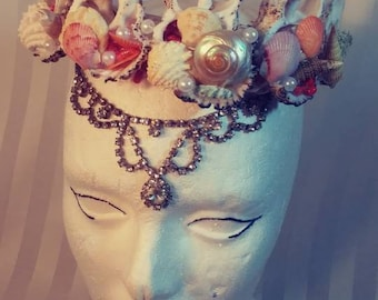 Mermaid Shell Coral Rhinestone Pearl Tiara Head Dress