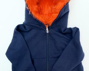 Toddler Monster Hoodie - Size 4T - Navy blue with orange - horned sweatshirt, custom jacket