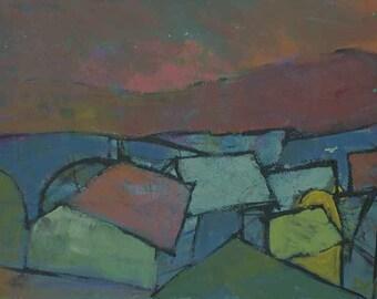 Fine art, Urban, Landscape, Roof, House, Original painting, Contemporary art, Urban Series #3