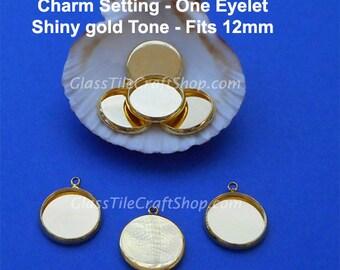 50pk Bezel Charm Setting - 12mm Round Shiny Gold Tone Tray - (12MGT1EYE)
