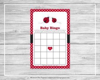 Ladybug Baby Shower Baby Bingo Game - Printable Baby Shower Baby Bingo Game - Ladybug Baby Shower  - Baby Bingo Baby Shower Game - SP140