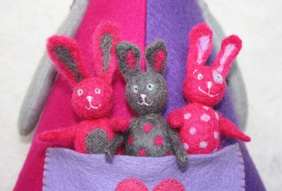"SALE! Felted Toy Set ""The Rabbit Family"" ooak art toys, unique toy, rabbit doll, rabbit toys, toy familie, gift for children"