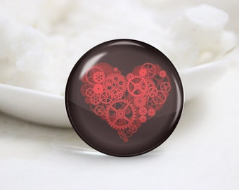 Round Glass Photo Cabochons Photo Glass Cabs-Love Heart (P3123)