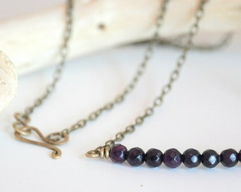 Purple Beads and Antiqued Brass Necklace