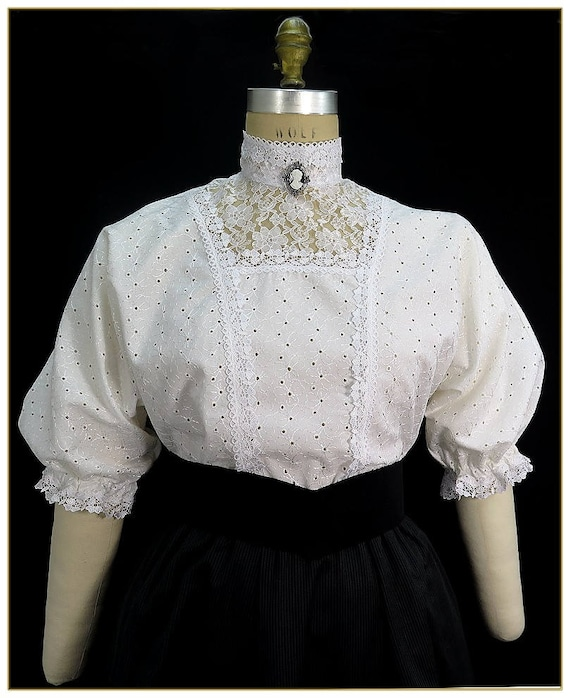 Victorian Blouses, Tops, Shirts, Vests Victorian Shamrock Eyelet Blouse $92.00 AT vintagedancer.com