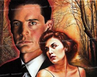 Twin Peaks ooak fan-art, Agent Dale Cooper, Kyle MacLachlan, David Lynch, Sherilyn Fenn, Audrey Horne, Mystery serial art, Fire Walk with Me