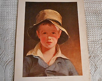 Country Boy TORN HAT Winsome Litho Print, Thomas Sully's Son in Blue Denim Jacket, Vintage Signed Boston MFA Childrens Room Art 10 x 14
