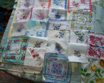 Vintage style Floral handkerchiefs; 1 dozen different handkerchiefs- various assortments