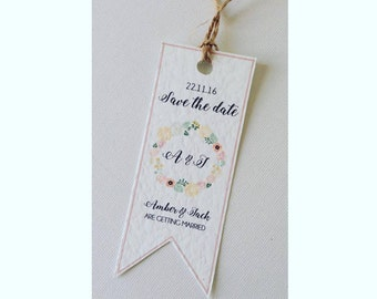 save the date book mark floral themed rustic