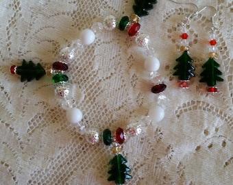 Oh Christmas Tree Glass Bead Charm Bracelet and Earring Set Handmade