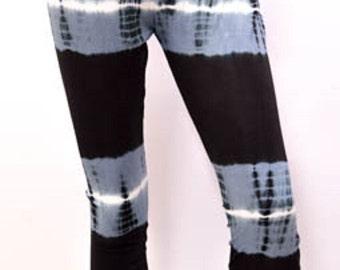 Hippie Striped Tie Dye Yoga Workout Stretch Leggings Pants Freesize 12 14 16  Grey