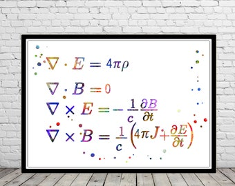 Maxwell's equations, watercolor Maxwell's equations, Maxwell's equations print, watercolor print, science art (4103b)
