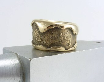Rustic Bronze on Bronze Ring, Bronze Ring, Textured Bronze Ring, Rustic BoHo Ring, Topanga Ring