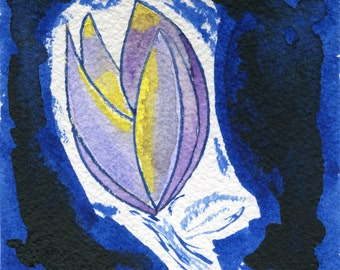 Art Deco Inspired,Purple Flower, Small Original Art, Floral Painting, Floral Watercolor, Flower Painting,Small Painting,Botany, gift