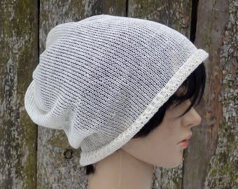 Knit linen hat, knitted summer beanie, natural linen slouchy, knitting lace hat, women men tam, white hat, flax sun hat, accessories