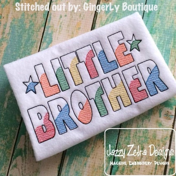Little Brother Sketch Embroidery Design - brother Sketch Embroidery Design