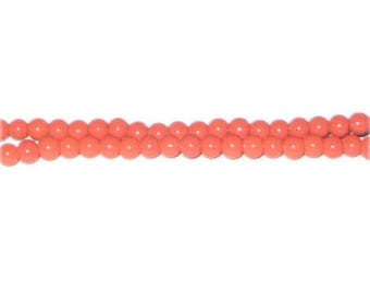 4mm Deep Orange Team and School Glass Bead, approx. 102 beads