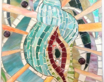 Mosaic Shell Stained Glass Wall Art