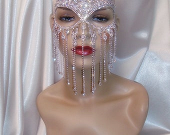 Rhinestone Masquerade Mask, Crown Mask, Bridal Mask, Mardi Gras Mask, Wedding Mask, Face Veil