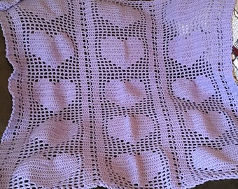 Lavender Crocheted Hearts Baby Blanket-Free Shipping