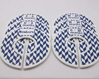 Custom Baby Closet Dividers Navy Nursery Baby Shower Gift Closet Organizers Finished Product