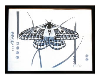 Emperor Moth Original Black and White Painting in 18x24 Black Frame Contemporary Modern Wall Art titled Multifarious by Jeanne Fry