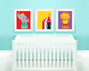 Circus Animals - set of 3  PRINTABLE wall art prints, Instant download,baby room,gift print,fun,play room, nursery, bright colors